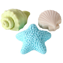 Ocean Themed Shea Butter Guest Soap Set, Starfish and Seashells, Set of 3