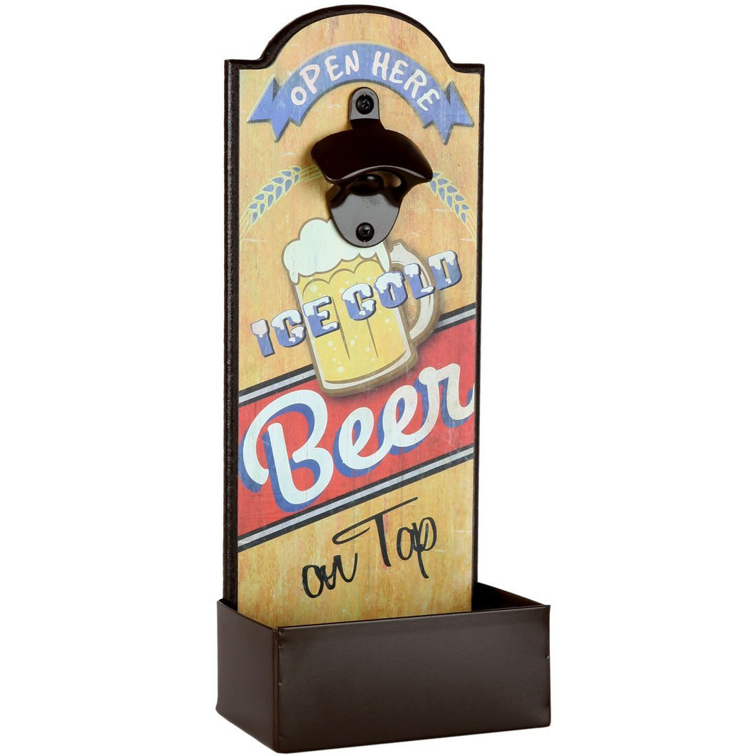 Vintage Beer Bottle Opener With Cap Catcher, Father's Day Gift