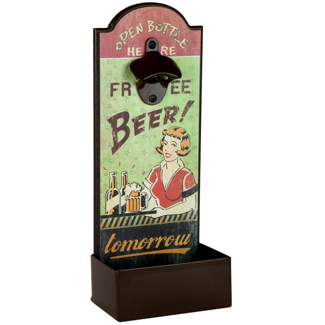 Vintage Humorous Beer Bottle Opener With Cap Catcher, Father's Day Gift