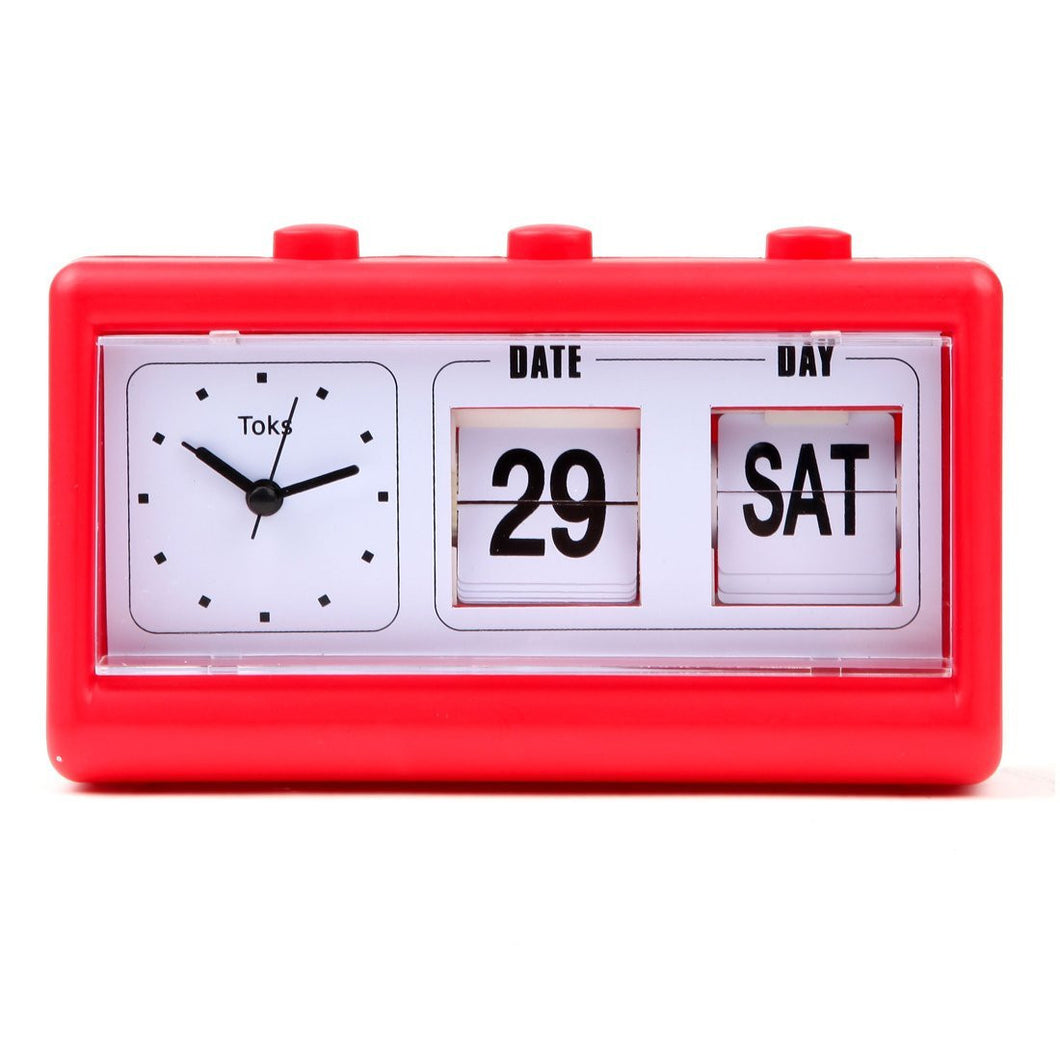 Vintage Inspired Flip Date/Day Quartz Alarm Clock, Red