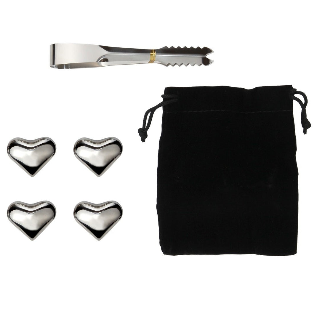 Wine Chilling Heart-shaped Chillers - Set of 4 Hand Polished Stainless Steel Metal Chillers with Tongs