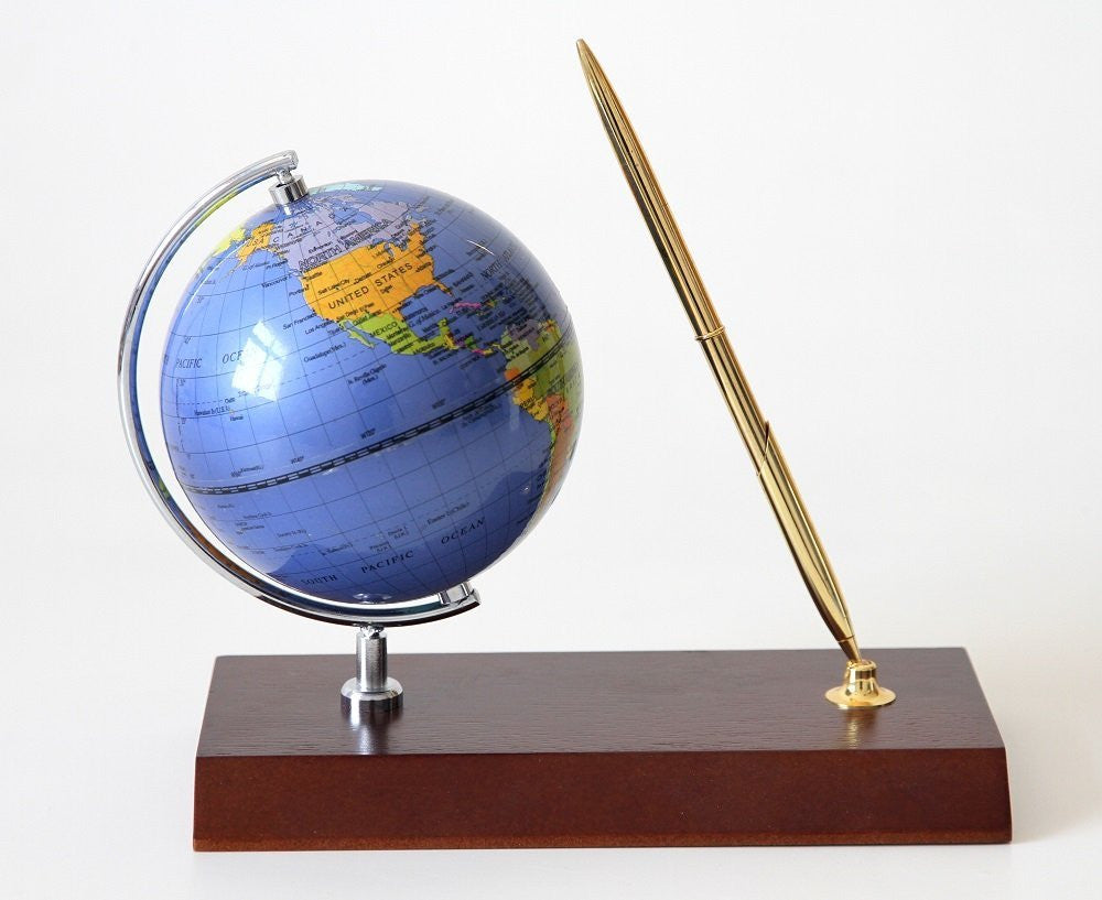 Handcrafted Rotating Globe Executive Desk Pen Set, Cherry Wood Base (Gift Set)