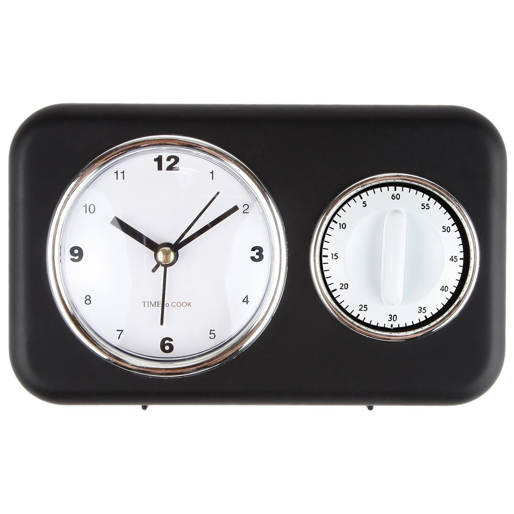 Countertop Kitchen Clock With Timer And Alarm, Black 6.75""
