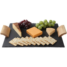 Rustic Slate Cheese Board with Wooden Handles and Chalk, Cheese Tray, 16 X 12 Inch.
