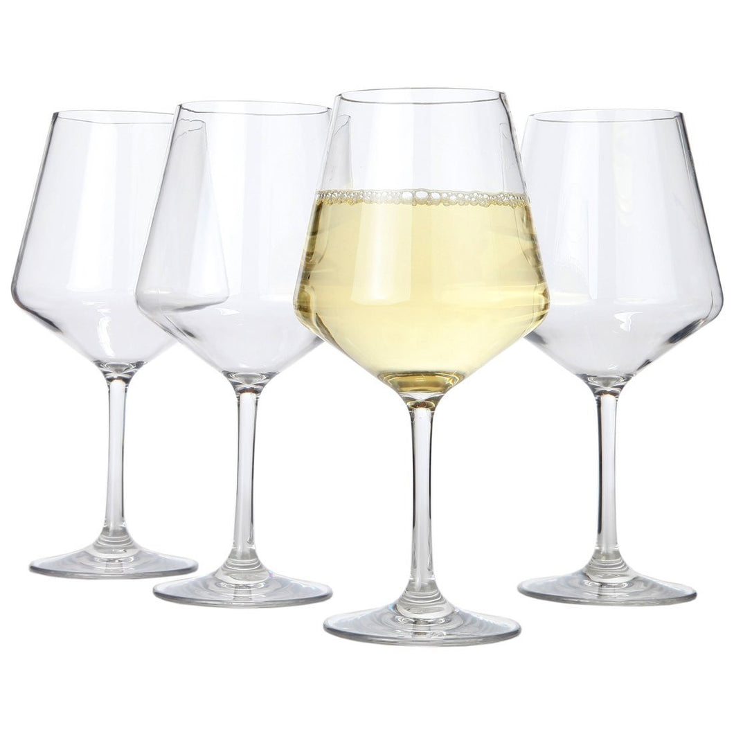 Lily's Home Chef Collection Unbreakable Indoor / Outdoor Chardonnay / White Wine Glasses, Shatterproof and Reusable. Set of 4