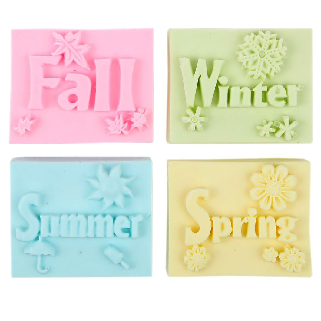 Shea Butter Enriched Scented Guest Soap Gift Set - Includes Four Soap Bars with Designs of the Four Seasons