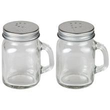 Country Kitchen Retro Glass Mason Jar Salt And Pepper Shaker Set With Handles