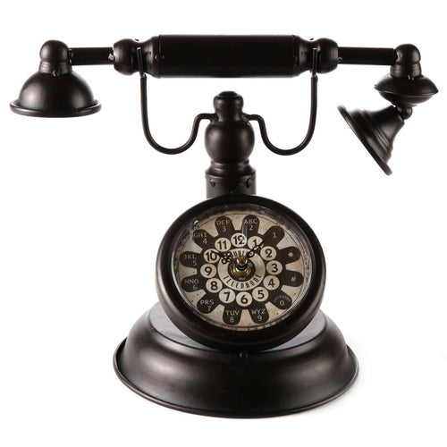 Old Fashioned Black Vintage Rotary Telephone Clock