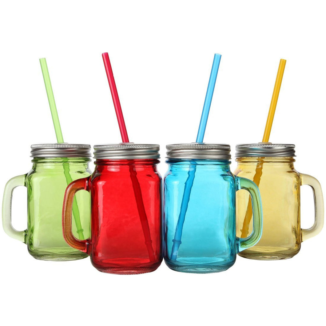 Assorted Colors Mason Jar Mugs with Tin Lid and Plastic Straws. 16 Oz. Each. Old Fashion Drinking Glasses - Pack of 4.