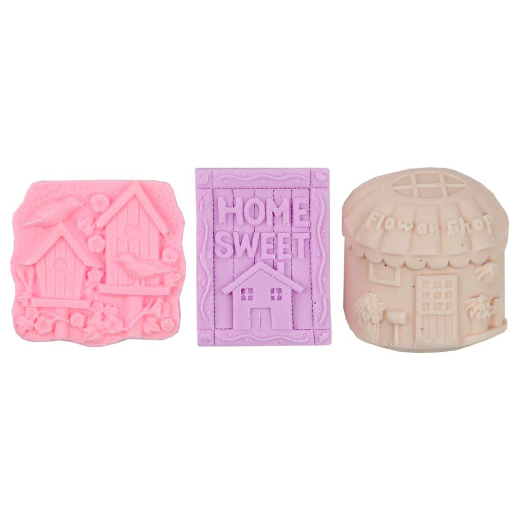 Shea Butter Enriched Scented Guest Soap Gift Set - Includes Three Designs of Home Sweet Home Soap Bars