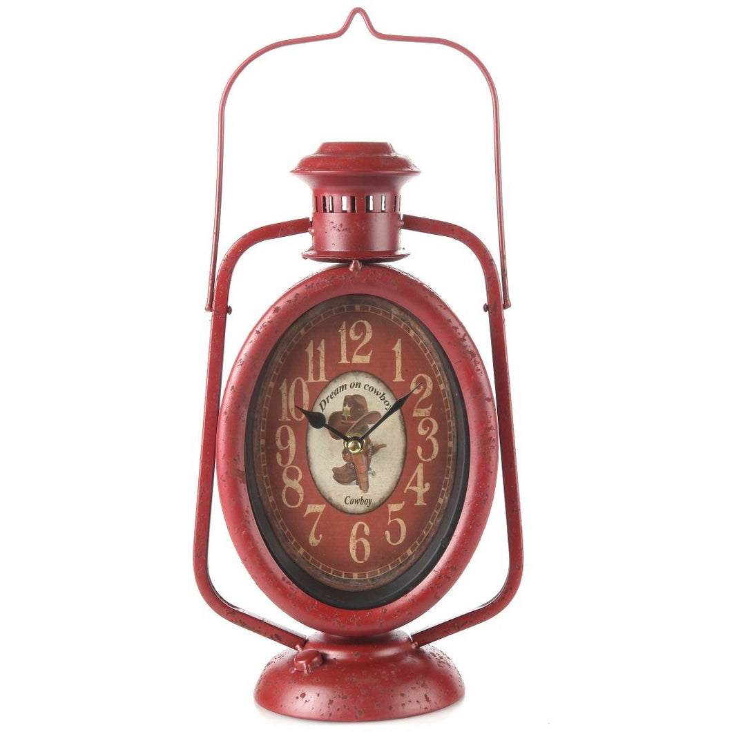 Rustic Country Cowboy Lantern Mantle Clock, Red
