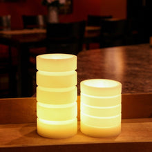 Everlasting Flameless Pillar LED Candle, Round Ribbed Set of 2 Candles; 4.5 & 7.5 inch tall