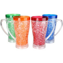Double Wall Gel Freezer Mugs. 15 Oz each - Set of 4 in Blue, Red, Orange and Green