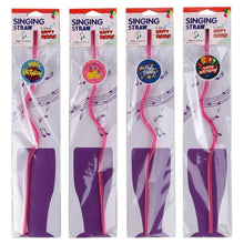 Happy Birthday Musical Singing Novelty Straws Set of 4