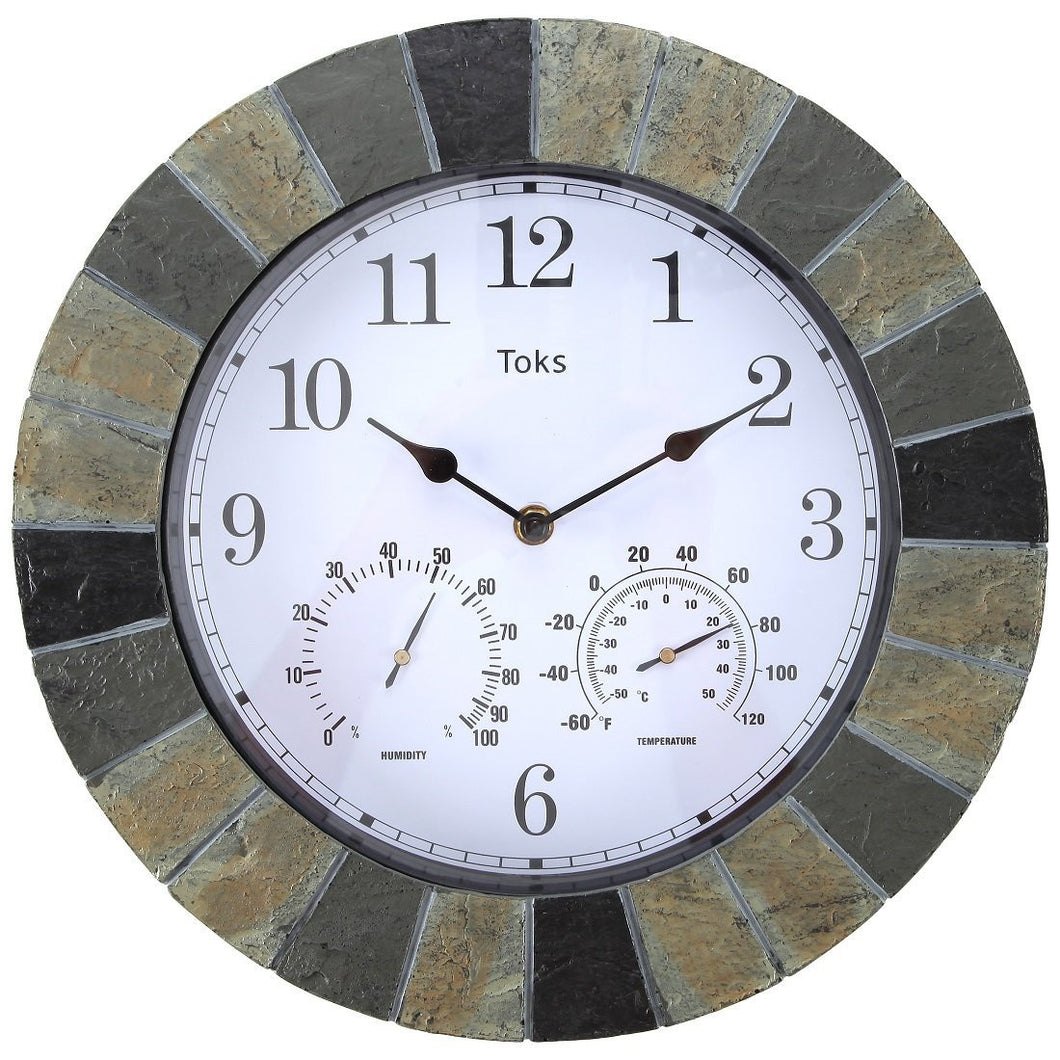 14Inch FauxSlate Indoor or Outdoor Wall Clock with Thermometer