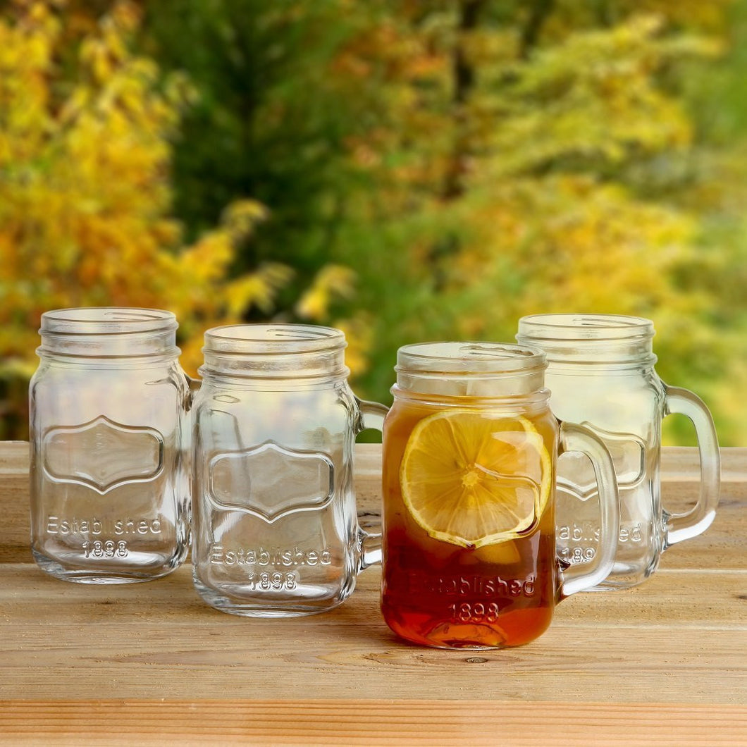 Old Fashioned Vintage Inspired Mason Jar Glasses With Handles Set of 4. 16 Ounce