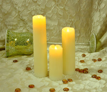 Everlasting Flameless Pillar LED Candle, Wax Melted Edge with Drip Effect, Set of 3; 5, 7 & 9 inch tall