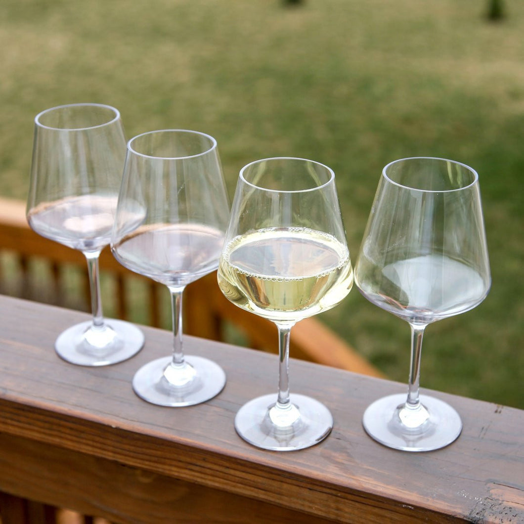 Set of 4 Shatterproof and Reusable Lilys Home Chef Collection Unbreakable Indoor White Wine Glasses Outdoor Chardonnay