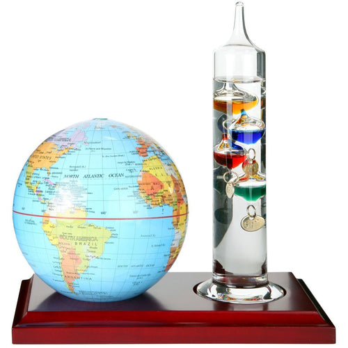 7 inch Glass Galileo Thermometer with a 4 inch World Globe