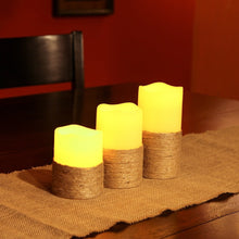 Set of 3 Everlasting Flameless Pillar LED Candle, With 4 and 8 Hours Timer and Hand Woven Rope Decor