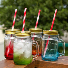 Mix Colors Mason Jar Mugs with Tin Lid and Plastic Straws. 16 Oz. Each. Old Fashion Drinking Glasses - Pack of 4