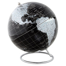 Silver And Black Political World Globe With Stand - 8 Inch Diameter