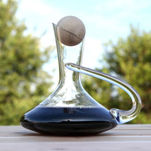 Glass Wine Decanter with Handle and Wooden Ball Stopper