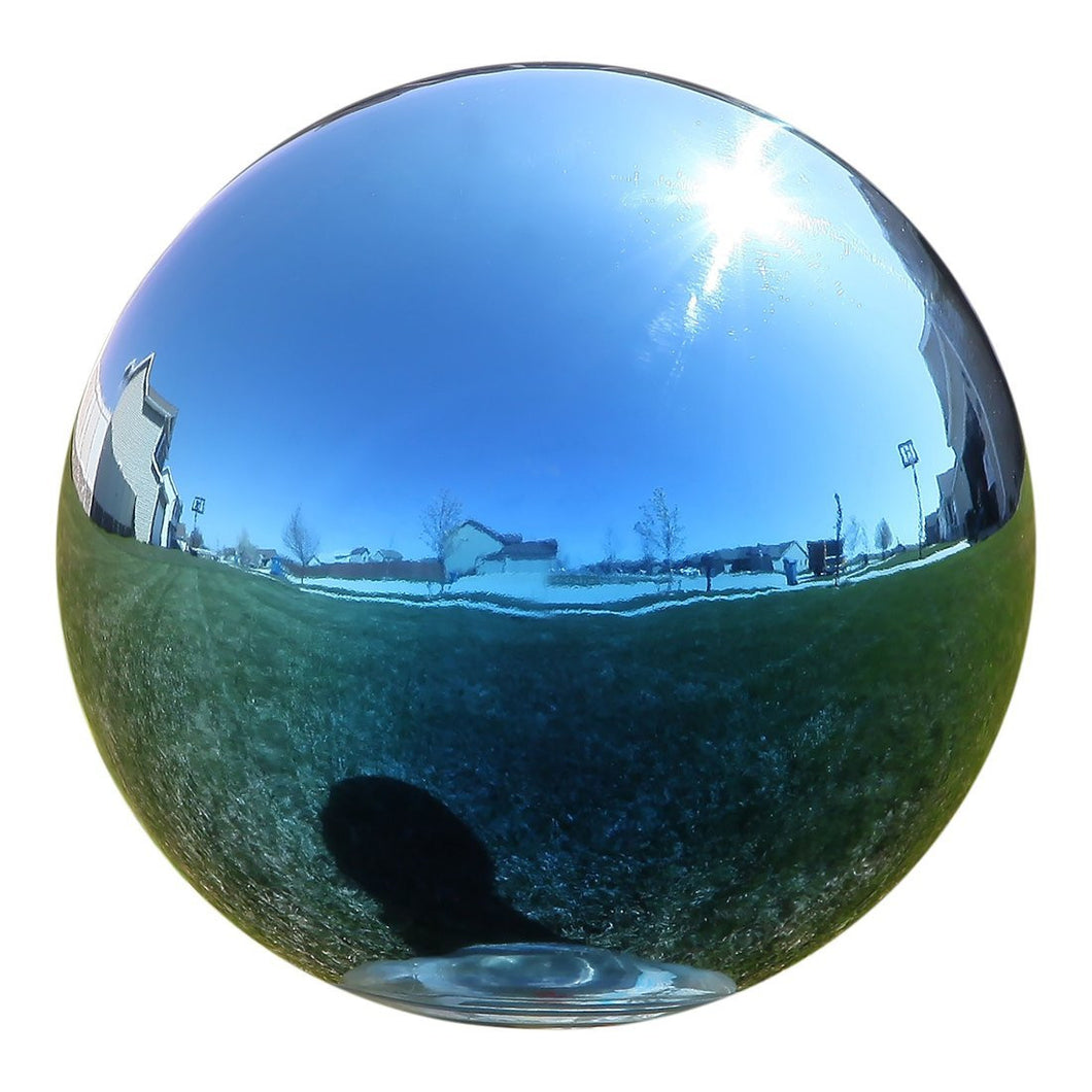 Gazing Globe Mirror Ball in Blue Stainless Steel