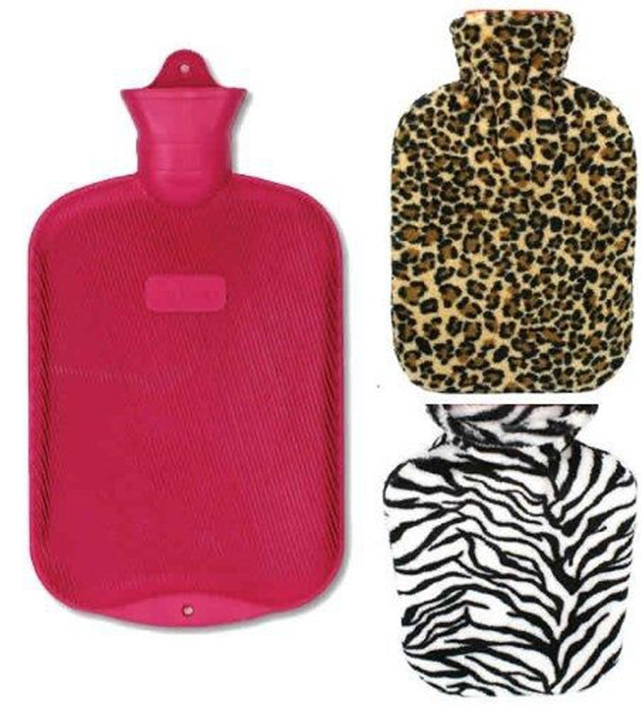 Rubber Hot Water Bottle For Cramps And Pain Relief With 2 Fleece Animal Print Covers 2 Liter