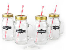 Chalkboard Large Mason Jar Mugs with Handle, Tin Lid, Plastic Straws and Chalk. 24 Oz. Each. Old Fashion Drinking Glasses