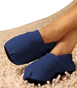 Hot Socks, Microwave Heated Slippers - (Navy Blue) Fits Men's Sizes S-M and Ladies M & L