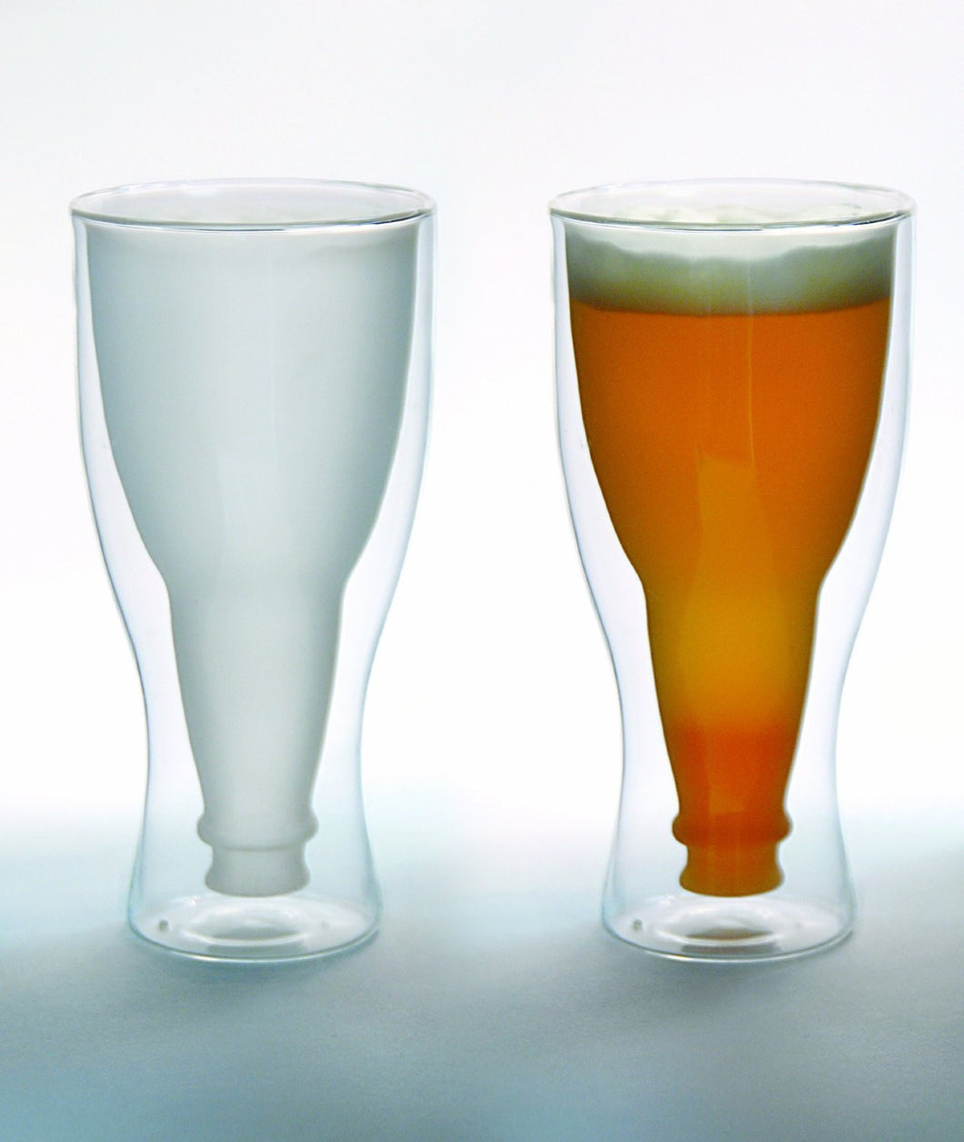 Hopside Down Beer Glass, Double Wall Beer Glass - FROSTED