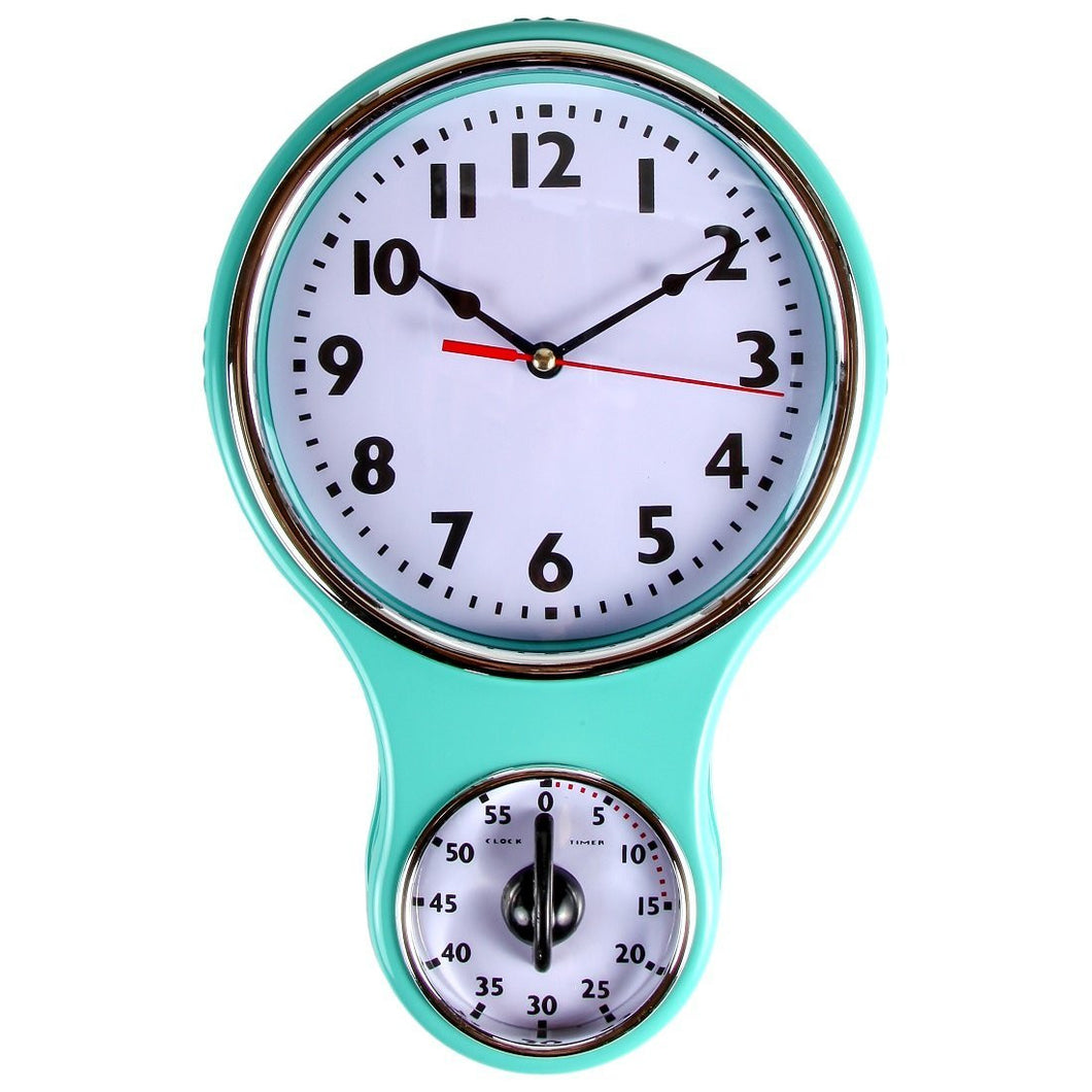 Retro Kitchen Timer Wall Clock, Bell Shape