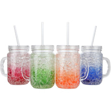Double Wall Gel Freezer Mason Jars with Lids and Straws. 18 Oz each - Set of 4 in Blue, Red, Orange and Green