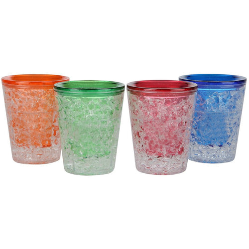 Double Wall Freezer Gel Shot Glasses, Blue, Red, Orange, Green, 1 Ounce, Set of 4