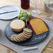 Rustic Slate Cheese Board with Carrying Handle and Chalk, Cheese Tray, 12 Inch Diameter.