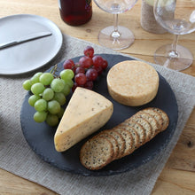 Revolving Lazy Susan Slate Cheese Board with Chalk. 12 Inch