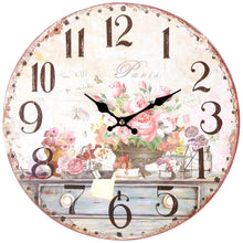 Vintage Inspired French Pink Flowers Wall Clock 13 Inch