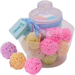 Rose Ball Soaps Decorated Plastic Jar - Unique Premium Handmade Gift Set Kit for Women - The Perfect Romantic Home Decor Present