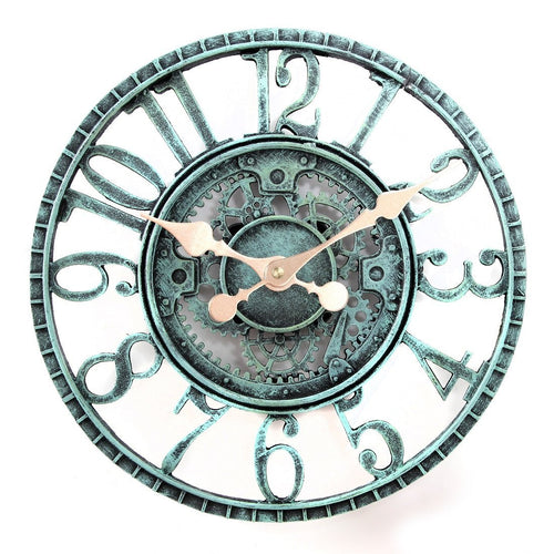 12-Inch Poly-resin Pewter Indoor or Outdoor Wall Clock with Cog and Wheel Design