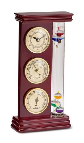 Analog Weather Station, with Galileo Thermometer, a Precision Quartz Clock, and Analog Barometer and Hygrometer, 5 Multi-Colored Spheres