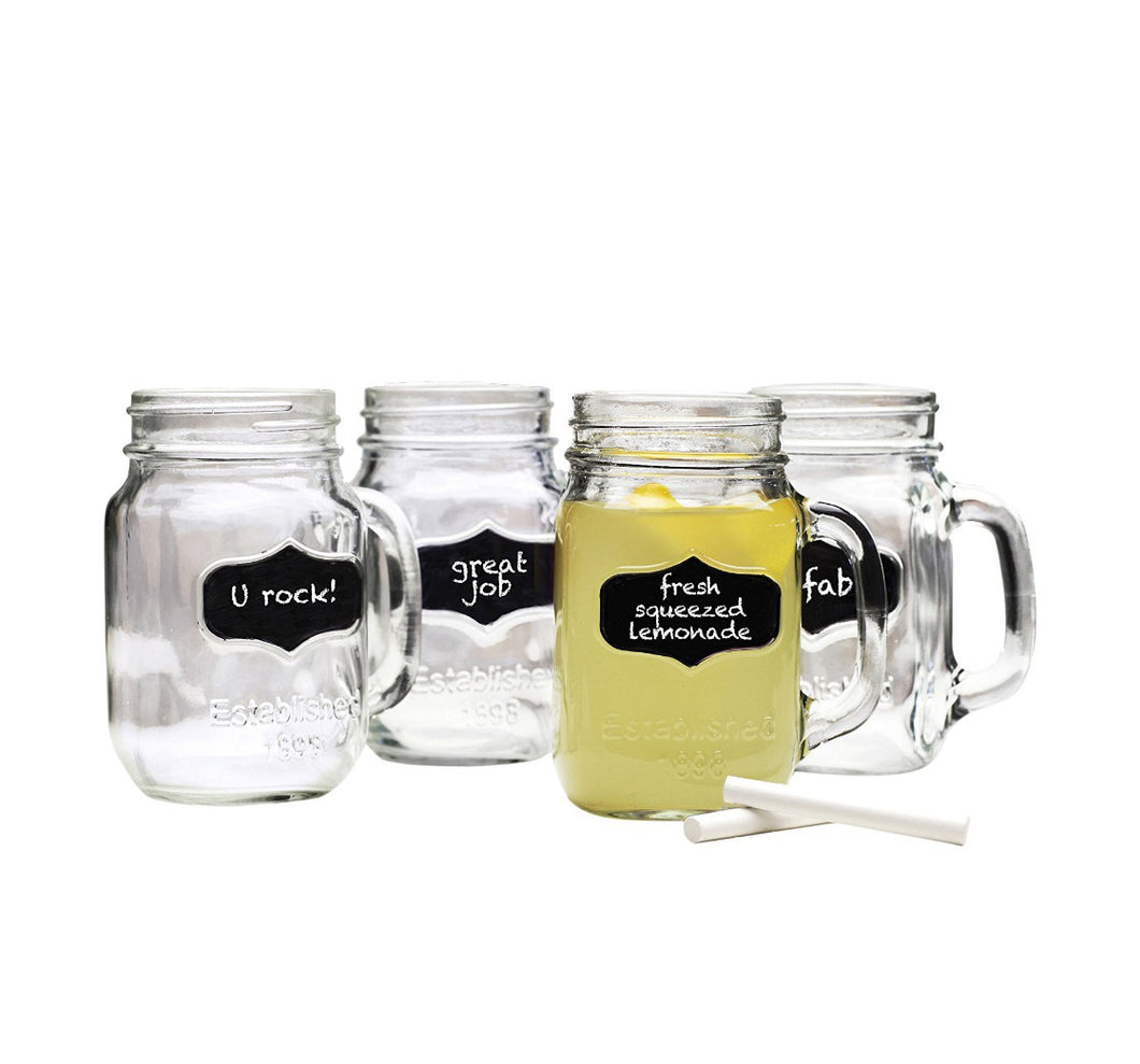 Chalkboard Mason Jar Mugs with Chalk. 16 Oz. Each. Old Fashion Drinking Glasses - Pack of 4