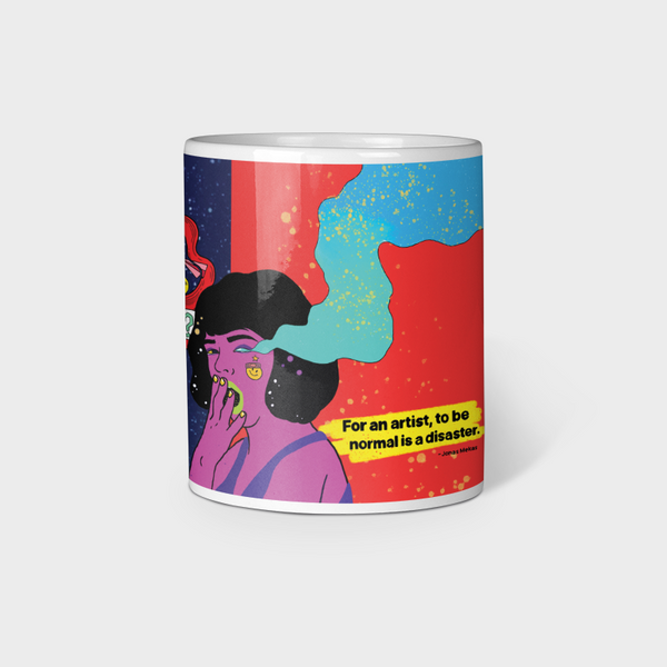 For An Artist, to be normal is a disaster White Ceramic Mug 330ml