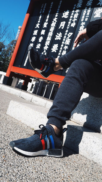 TRI-COLOUR BLACK - Blue & Red Tips, Waxed Flat LacesNMDs - No Agenda