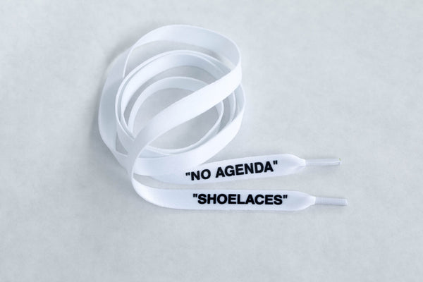 """SHOELACES"" White - Flat LacesPrinted - No Agenda"