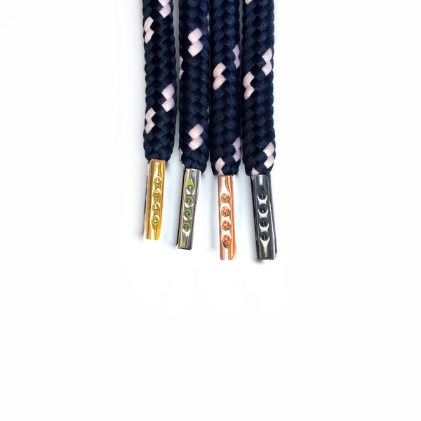 "Dark Blue/Pink Dots 38"" - Rope LacesUltra Boost - No Agenda"