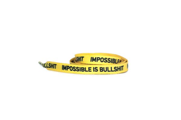 IMPOSSIBLE IS BULLSHIT Yellow - Flat LacesPrinted - No Agenda
