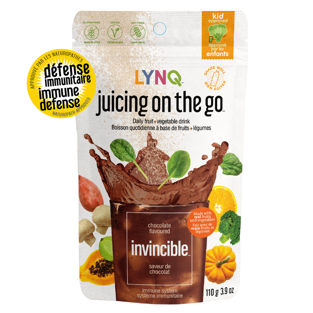 Lynq Invincible Fruit and Vegetable Powder Blend for Immune Boosting, Chocolate Flavor
