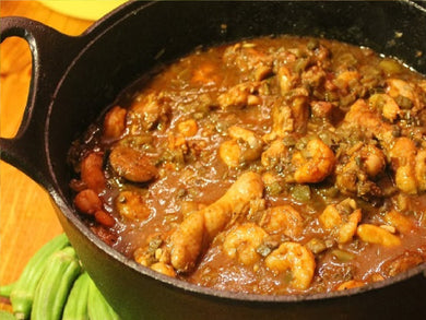 Cajun Mike's Smothered Shrimp, Sausage, & Okra (Serves 10-12)