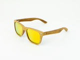 Bamboo Clothing & Accessories by Mabboo, Wayfarer - Natural front / Orange revo lens, Sunglasses
